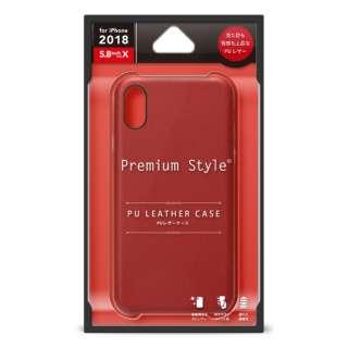 iPhone XS 5.8インチ用 PUレザーケース ワインレッド PG-18XPU04RD レッド