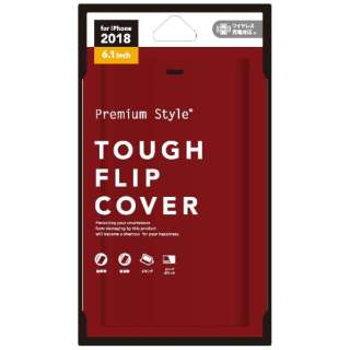 iPhone XR 6.1インチ用  タフフリップカバー レッド PG-18YFP07RD レッド
