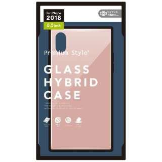 iPhone XS Max 6.5インチ用 ガラスハイブリッドケース ピンク PG-18ZGT04PK ピンク