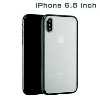 iPhone XS Max 6.5インチ専用サイドカラードクリアハイブリッドケース(ブラック) 276-897706