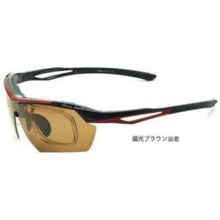 交換レンズ付き スポーツサングラス ES-S112 C3(ブラック×レッド)
