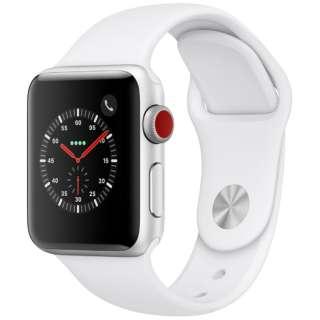 Apple Watch Series 3(GPS + Cellularモデル)- 38mmシルバーアルミニウムケースとホワイトスポーツバンド MTGN2J/A