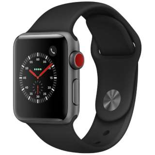 Apple Watch Series 3(GPS + Cellularモデル)- 38mmスペースグレイアルミニウムケースとブラックスポーツバンド MTGP2J/A