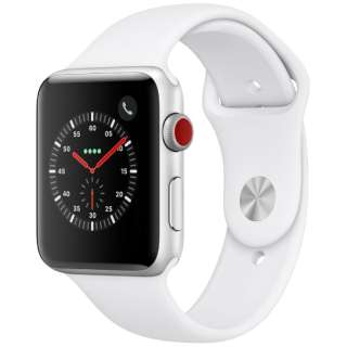 Apple Watch Series 3(GPS + Cellularモデル)- 42mmシルバーアルミニウムケースとホワイトスポーツバンド MTH12J/A