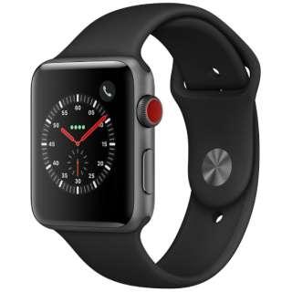 Apple Watch Series 3(GPS + Cellularモデル)- 42mmスペースグレイアルミニウムケースとブラックスポーツバンド MTH22J/A