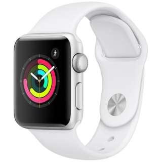 Apple Watch Series 3(GPSモデル)- 38mmシルバーアルミニウムケースとホワイトスポーツバンド MTEY2J/A