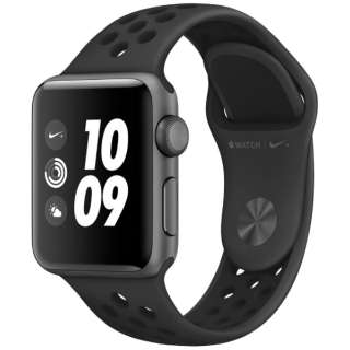 Apple Watch Nike+ Series 3(GPSモデル)- 38mmスペースグレイアルミニウムケースとアンスラサイト/ブラックNikeスポーツバンド MTF12J/A