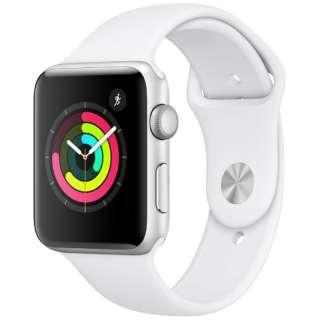 Apple Watch Series 3(GPSモデル)- 42mmシルバーアルミニウムケースとホワイトスポーツバンド MTF22J/A