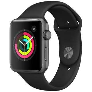 Apple Watch Series 3(GPSモデル)- 42mmスペースグレイアルミニウムケースとブラックスポーツバンド MTF32J/A