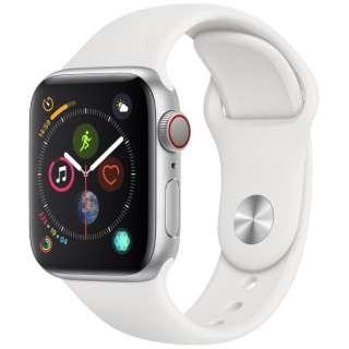 Apple Watch Series 4(GPS + Cellularモデル)- 40mm シルバーアルミニウムケースとホワイトスポーツバンド MTVA2J/A