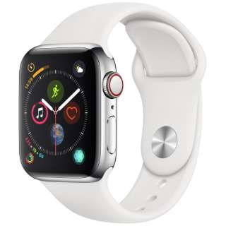 Apple Watch Series 4(GPS+Cellular型号)-40mm不锈钢包和白运动带MTVJ2J/A[Series4/40mm/特伦斯钢铁/运动带/GPS]