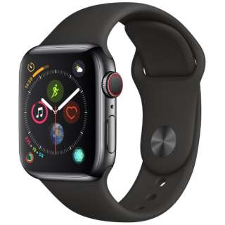Apple Watch Series 4(GPS+Cellular型号)-40mm空间黑色不锈钢包和黑色运动带MTVL2J/A