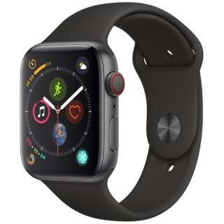 Apple Watch Series 4(GPS + Cellularモデル)- 44mm スペースグレイアルミニウムケースとブラックスポーツバンド MTVU2J/A