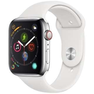 Apple Watch Series 4(GPS+Cellular型号)-44mm不锈钢包和白运动带MTX02J/A