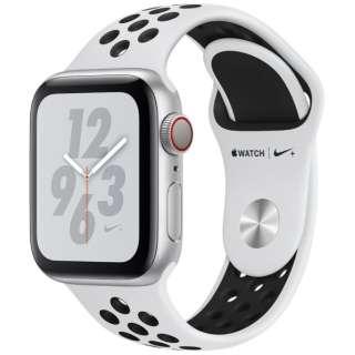 Apple Watch Nike+ Series 4(GPS + Cellularモデル)- 40mm シルバーアルミニウムケースとピュアプラチナム/ブラックNikeスポーツバンド MTX62J/A