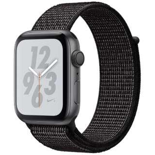 Apple Watch Nike+Series 4(GPS型号)-44mm空间灰色铝包和黑色Nike运动循环MU7J2J/A