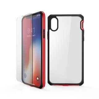 iPhone2018 6.1inch用 液晶保護ガラス付き耐衝撃ケース MSIT-P861ERD レッド