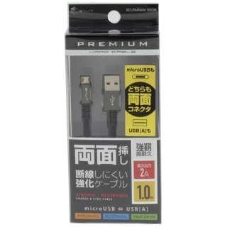 両面micro USBケーブル 2A 1.0m GM