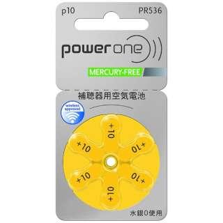 PW536 補聴器用電池 空気亜鉛電池/無水銀タイプ powerone [6本 /PR536(10)]