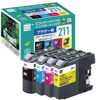 ECI-BR211-4P リサイクルインクカートリッジ【ブラザー用   LC211-4PK互換】 4色