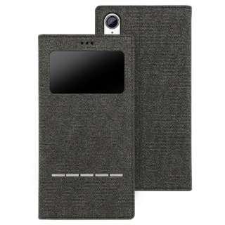 超薄型マグネット開封式スマートレザーケース Wisdom iphoneXR対応 AFC181101 CanvasBlack