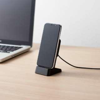 ワイヤレス充電器 Qi対応 5W コイル可動式 スタンドタイプ W-QS03XBK ブラック [USB給電対応 /ワイヤレスのみ]