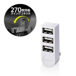 U2H-TZ325BX USBハブ ホワイト [USB2.0対応 /3ポート /バスパワー]