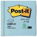 [付箋] ポスト・イット ノート 再生紙 スタンダードカラー (75x75mm /100枚) 654RP-BN ブルー
