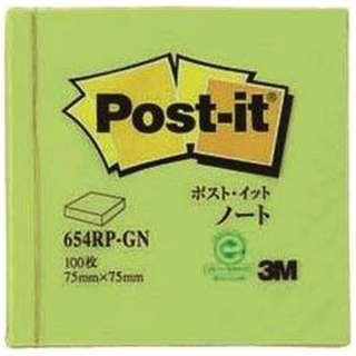 [付箋] ポスト・イット ノート 再生紙 スタンダードカラー (75x75mm /100枚) 654RP-GN グリーン