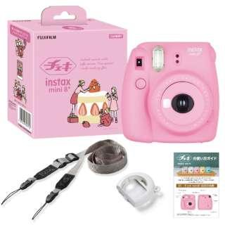 インスタントカメラ 『チェキ』 instax mini 8+(プラス) 純正ショルダーストラップ付 ストロベリー