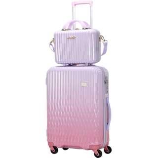 5c41c96243 LUNALUX(ルナルクス)スーツケース ハード ジッパーフレーム LUN2116-48WHPK/PK ホワイトピンク