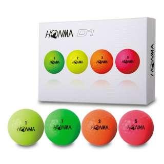 ゴルフボール HONMA New-D1 ボール《1ダース(12球)/マルチカラー》BT1801【2018年モデル】