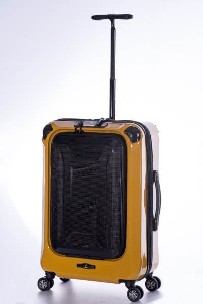 スーツケース ハードキャリー 59L La PANTHEON(ラ パンテオン) イエロー+カーボン PTK-1000-24 [TSAロック搭載]