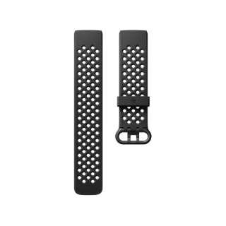 Fitbit フィットビット Charge3 専用 純正 交換用 スポーツ リストバンド Black ブラック Lサイズ【日本正規品】 FB168SBBKL