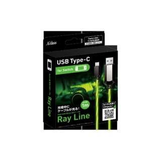 Switch用 発光USBケーブル 1m ~Ray Line~ グリーン SASP-0483 【Switch】