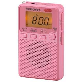 携帯ラジオ AudioComm ピンク RAD-P2229S [AM/FM /ワイドFM対応]