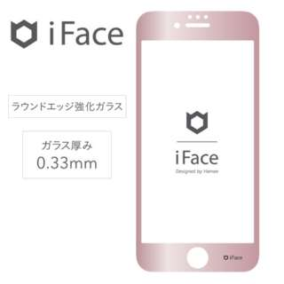 [iPhone 8/7/6s/6専用]iFace Round Edge Color Glass Screen Protector ラウンドエッジ強化ガラス 液晶保護シート(メタリック/ローズゴールド) 41-890356