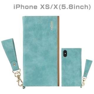 [iPhone XS/X専用]salisty(サリスティ)Q スエードスタイル ダイアリーケース(ターコイズ)Q-DC001G 276-901038