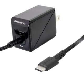 [Type-C] 1具3A對應超強壯的電纜型AC充電器Smart IC搭載OWL-ACJKTC15S-BK黑色[支持USB供電的/1端口]