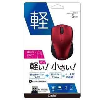 ワイヤレスBlueLEDマウス 小型[2.4GHz USB・3ボタン] MUS-RKT160R レッド