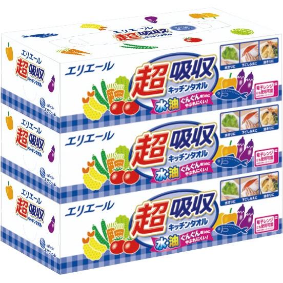 エリエール 超吸収キッチンタオルBOX 1パック(3個入)
