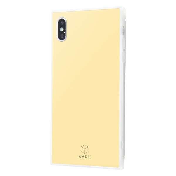iPhone XS Max 耐衝撃ガラスケース KAKU シルク IQ-P19K2C/CY クリームイエロー