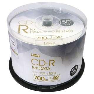 L-CD50P データ用CD-R LAZOS 1-52倍速 [50枚 /700MB /インクジェットプリンター対応]