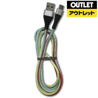 【アウトレット品】 Type-C USBケーブル [最大5V/3A対応/1m] LAZOS  L-TC-M3 グリーンレッド 【数量限定品】