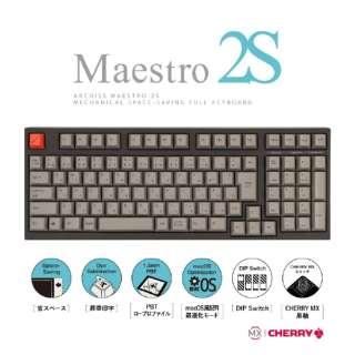 AS-KBM02/LGBA ゲーミングキーボード CHERRY MX 黒軸 ARCHISS Maestro2S 黒 [USB /有線]