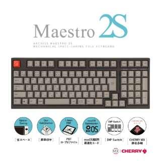 AS-KBM02/SRGBA ゲーミングキーボード CHERRY MX 静音赤軸 ARCHISS Maestro2S 黒 [USB /有線]