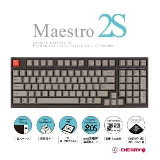 AS-KBM98/LSGB ゲーミングキーボード CHERRY MX スピードシルバー軸 Mestro2S 黒 [USB /有線]