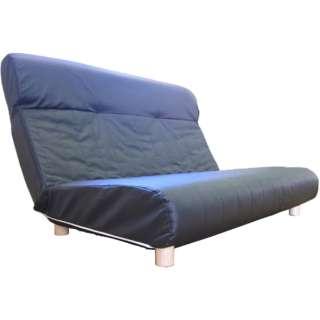【座椅子】二人掛け プログレッソ脚つきタイプ (レザー/ブラック)