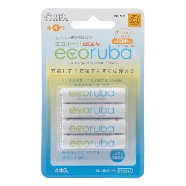 充電式電池 エコルーバ 単4×4本入 BT-JUTG414P [4本]
