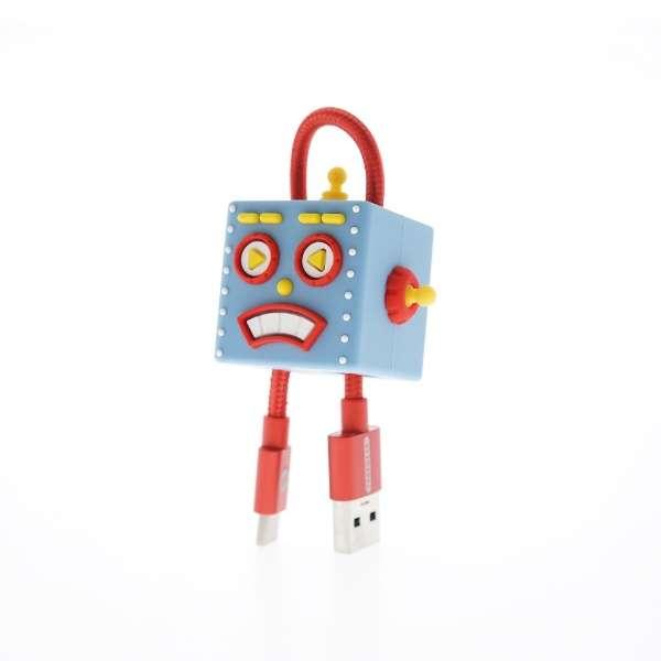 TUNEWEAR CableArt ロボット USB-A to USB-C 同期・充電用ケーブル 18cm高出力対応3A ケーブル保護 ブルー TUN-OT-000046c [0.18m]